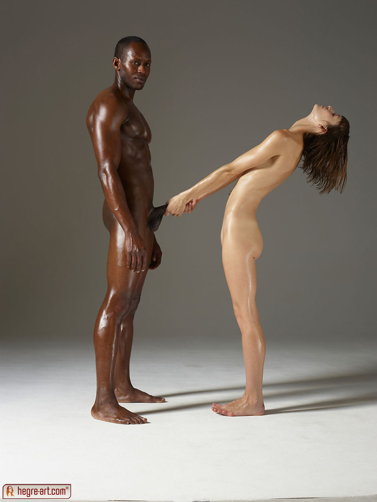 Interracial couple nude