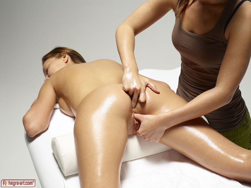Lesbian Oil Massage Threesome