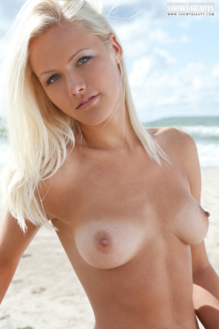 The sexy young blonde boobs